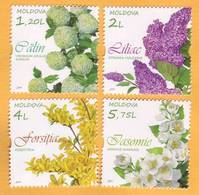 "2019 Moldova Moldavie  ""Flower Shrubs"". Viburnum Opulus Roseum, Syringa Vulgaris, Forsythia, Jasminum Officinale - Moldavie"