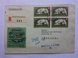 SWITZERLAND 1950 Cover Registered Zurich With Customs Sticker To Sumperk Czechoslovakia - 2 Scans - Suisse