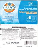 GREECE - Allo Card, OTE Prepaid Card 6 Euro, CN : I 31-black Writing, Tirage 80000, 08/06, Used - Grèce