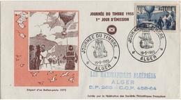 ALGERIE YT N°325 SUR LETTRE PREMIER JOUR MAXIMAPHILIE THEME BALLON DIRIGEABLE AEROSTAT - 1950-1959