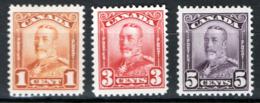 Canada 1928 Y.T.129,131,133 MH/* VF/F - Nuovi