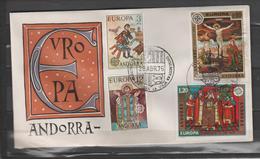 ANDORRA TEMA EUROPA  1975  C. ESPAÑOL Y C.. FRANCES EN UN MISMO SOBRE (S.2) - FDC