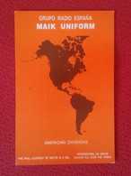 TARJETA TIPO POSTAL TYPE POST CARD QSL RADIOAFICIONADOS RADIO AMATEUR AMERICAN DIVISIONS AMÉRICA MAPA MAP CARTE ESPAÑA - Tarjetas QSL