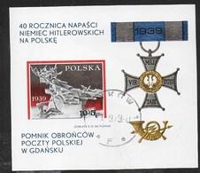 POLONIA - 40° AGGRESSIONE TEDESCA POLONIA 1979 - FOGLIETTO USATO (YVERT BF 86 - MICHEL BL 79) - Blocchi E Foglietti