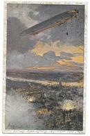Zeppelin Bombardant Anvers  - WWI - Dirigeables