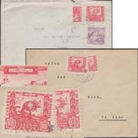 Bolivie 1940 Y&T 232. 2 Lettres Avec Demi-timbres, Variété Ou Curiosité, Timbre De Bienfaisance. Chinchilla. - Rongeurs