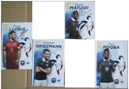 Pogba Matuidi Griezman Lloris - Lot De 4 Cartes Signature Imprimée - Football