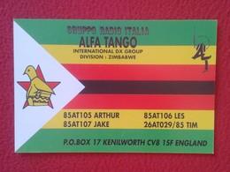 POSTAL TYPE POST CARD QSL RADIOAFICIONADOS RADIO AMATEUR GRUPPO ALFA TANGO ITALIA GROUP ZIMBABWE AFRICA AFRIQUE FLAG VER - Tarjetas QSL