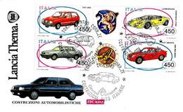 ITALIA - 1985 TORINO AUTO COSTRUZIONI AUTOMOBILISTICHE Blocco 4v. Su Fdc ROMA - Automobili