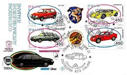 ITALIA - 1985 TORINO AUTO COSTRUZIONI AUTOMOBILISTICHE Blocco 4v. Su Fdc FILAGRANO - 6. 1946-.. Repubblica