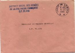 District Social Des Armées De La Polynésie - Poste Aux Armées ** 1989 - Lettre En Franchise - Lettres & Documents