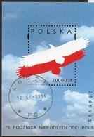 POLONIA - 70° ANNIVERSARIO POLONIA 1993 - FOGLIETTO USATO (YVERT BF 93 - MICHEL BL 124) - Blocchi E Foglietti