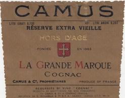 ETICHETTA LIQUORE -COGNAC LA GRANDE MARQUE CAMUS - FRANCIA- - Etichette