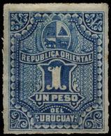 Uruguay 1877-79 1p Blue Mounted Mint. - Uruguay