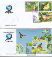 PARAGUAY 2006 BUTTERFLIES SET +  SOUVENIR SHEET ON 2 FIRST DAY COVERS VERY FINE - Paraguay