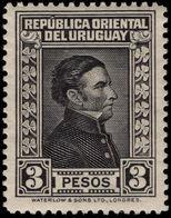Uruguay 1929-33 3p Black Waterlow Fine Mounted Mint. - Uruguay