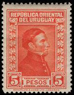 Uruguay 1929-33 5p Vermillion Waterlow Fine Mounted Mint. - Uruguay