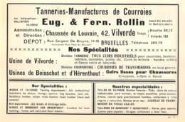 1927 - VILVORDE - Chaussée De Louvain - Tanneries Manufacture De Courroies - Eug. & Fern. ROLLIN - Dim. 1/2 A4 - Advertising
