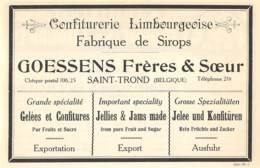 1927 - SAINT-TROND - Confiturerie Limbourgeoise - GOESSENS Frères & Soeurs - Dim. 1/2 A4 - Publicités