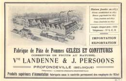 1927 - PROFONDEVILLE - Fabrique De Pâte De Pommes Gelées Et Confitures - Vve LANDENNE & PERSOONS - Dim. 1/2 A4 - Publicités