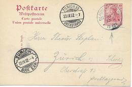 """"""" Austellung Zittau """" Vers Suisse Sur Entier Postal Postal 1902 - Deutschland"""