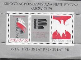 POLONIA - KATOWICE '79 - ESPOSIZIONE FILATELICA  - FOGLIETTO NUOVO** (YVERT BF 87 - MICHEL BL 77) - Esposizioni Filateliche