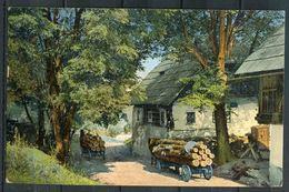 "CPA Color AK Photochromie D & N Nr.1626 Germany Gevelsberg1914 ""Beladene Holzwagen Vor Häusern "" 1 AK Used - Ansichtskarten"