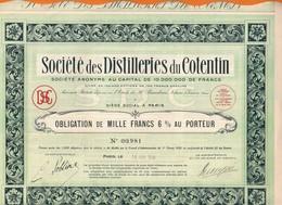 Lot De 2 ACTIONS    UNION MINIERE Et FINANCIERE  COLONIALE 1929  Et   STE Des DISTILLERIES Du COTENTIN  1930 - Andere