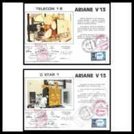 12099 Ariane V 13 1985 Telecom 1b Gstar 1 Lot De 2 Signé Signed Autograph France Espace Espace Space Lettre Cover - Storia Postale