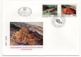 YUGOSLAVIA, FDC, 20.03.1993, COMMEMORATIVE ISSUE:  PROTECTED SPECIES, FISH - 1992-2003 Federal Republic Of Yugoslavia