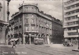 TORINO-VIA PIETRO MICCA-TRAM IN ARRIVO-CARTOLINA VERA FOTOGRAFIA CARTOLINA VIAGGIATA IL 10-8-1956 - Italie