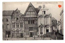 02495-LE-BELGIQUE-MALINES-Vieilles Maisons Sur La Dyle---animée-attelage (Bieres En Bouteilles Brasserie Van Diepenbeeck - Malines