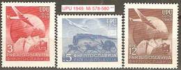 Yugoslavija Jugoslawien 1949: 75 Jahre UPU Lokomotive & Kutsche Rail & Coach  Michel-No. 578-580 ** MNH - Trains