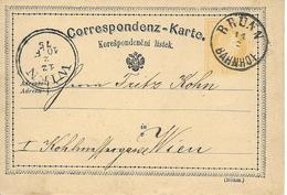 Bahnhof Brun Vers Wien 1875 Sur Entier Postal, Ambulant. - Briefe U. Dokumente