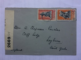 SWITZERLAND 1940 Cover With Censor Tape Geneva To England Tied With Pro Patria Monuments - Suisse