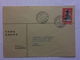 SWITZERLAND 1940 Cover Lausanne To Bale - Suisse