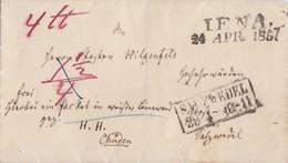 Thurn & Taxis Paketbegleitbrief L2 Jena 24.Apr. 1857 Gel. Nach R2 Salzwedel 29.4. - Thurn Und Taxis