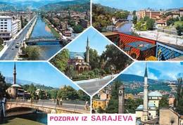Bosnia And Herzegovina Sarajevo / Mosque, Panorama, Bridge / Pozdrav, Greetings - Bosnia And Herzegovina