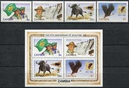 ZAMBIA 1982 75th Anniversary Of Scouting Eagle Birds Fauna Animals MNH - Aigles & Rapaces Diurnes