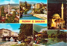 Bosnia And Herzegovina Sarajevo / Mosque, Panorama, Bridge, River / Pozdrav, Greetings - Bosnie-Herzegovine