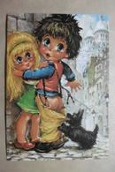 """CPSM Illustrateur Michel THOMAS """"Les PETITS"""" Enfants Titis Beau Petit Couple Et Un Chien """"AGRESSION"""" - Illustrateurs & Photographes"""