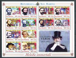 248 SAINT MARIN 2001 - Yvert 1731/42 - Opera Musique Verdi Portrait - Neuf ** (MNH) Sans Trace De Charniere - San Marino