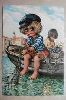 """CPSM Illustrateur Michel THOMAS """"Les PETITS"""" Enfants Titis Beaux Petits Garçons Dans Une Barque""""LES PÊCHEURS"""" - Künstlerkarten"""