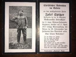 Sterbebild Wk1 Ww1 Bidprentje Avis Décès Deathcard RIR11 REIMS Gasvergiftung 11. Aprl 1917 Waffenmeister - 1914-18