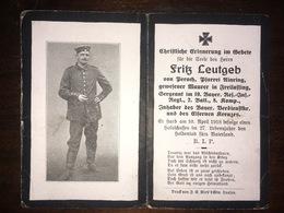 Sterbebild Wk1 Ww1 Bidprentje Avis Décès Deathcard RIR19 10. Spril 1918 Aus Perach - 1914-18