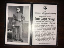 Sterbebild Wk1 Ww1 Bidprentje Avis Décès Deathcard IR11 25. September 1916 Aus Humperting - 1914-18