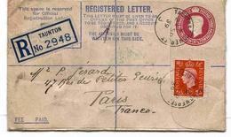 Grande Bretagne Great Britain Entier Recommandé Taunton 1939 Stationary - 1902-1951 (Rois)