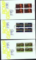 1973  RCMP Centenary  Sc 612-4  UR Platee Blocks Matched Official FDCs - Omslagen Van De Eerste Dagen (FDC)