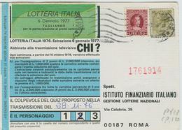 FRODE POSTALE, CARTOLINA LOTTERIA ITALIA 1976, AFFRANCATURA SIRACUSANA £.50+100 MARCA DA BOLLO,POSTE MILANO, - 6. 1946-.. Repubblica