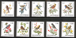 SAN MARINO 1972 Birds Scott Cat. No(s). 777-786 MNH - Birds